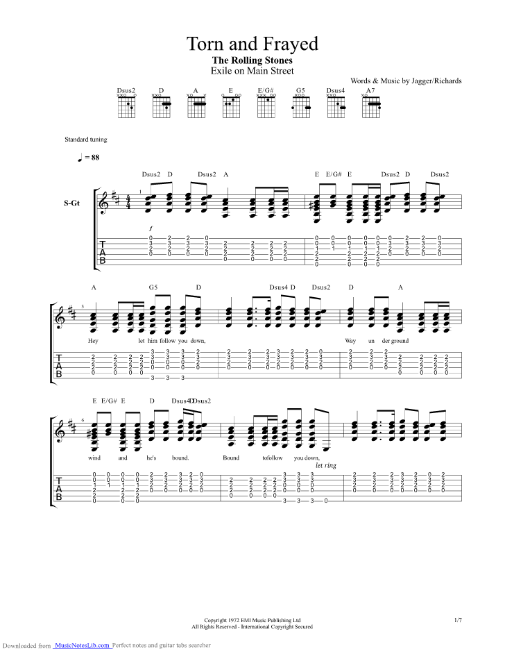 Torn And Frayed Guitar Pro Tab By Rolling Stones Musicnoteslib