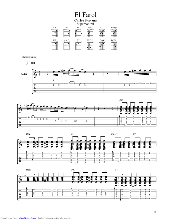 El Farol guitar pro tab by Santana @ musicnoteslib.com