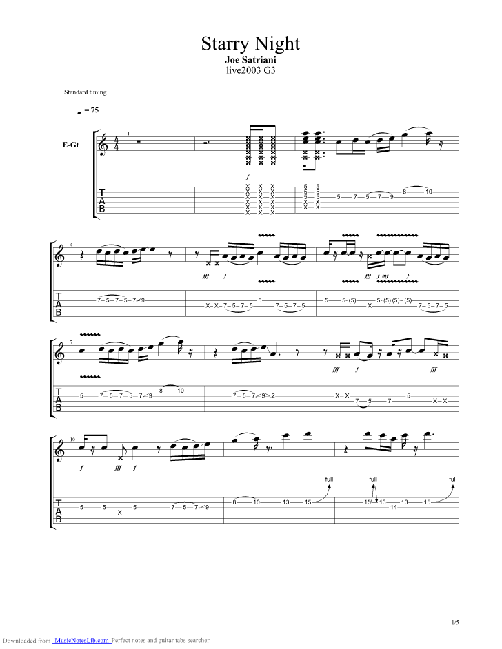 Starry Night Guitar Pro Tab By Joe Satriani Musicnoteslib