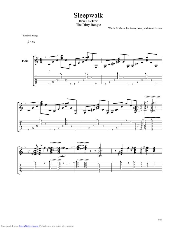 Sleepwalker Guitar Pro Tab By Brian Setzer Musicnoteslib