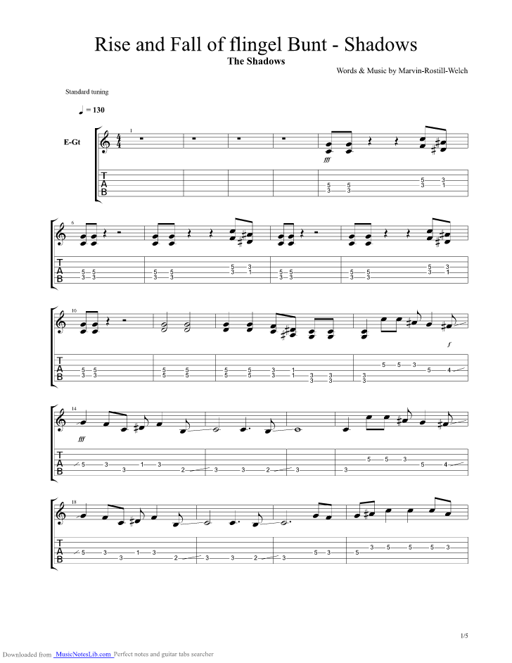 The Rise And Fall Of Flingel Bunt Guitar Pro Tab By The Shadows