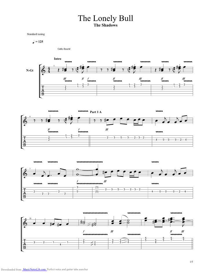 The Lonely Bull Guitar Pro Tab By The Shadows Musicnoteslib