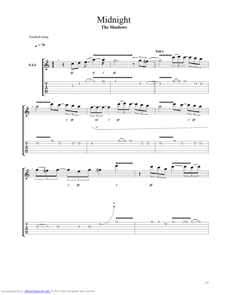 Midnight Guitar Pro Tab By The Shadows Musicnoteslib