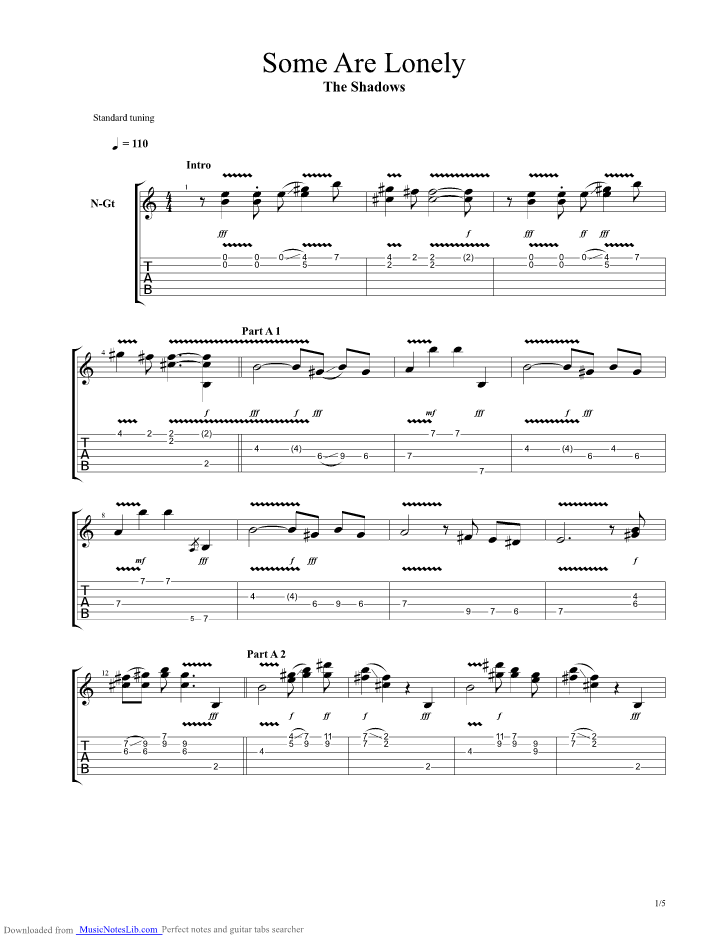 Some Are Lonely Guitar Pro Tab By The Shadows Musicnoteslib