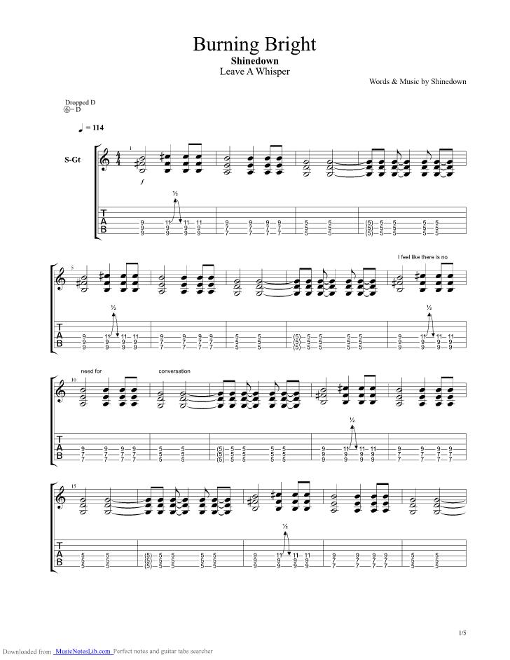 Burning Bright guitar pro tab by Shinedown @ musicnoteslib.com