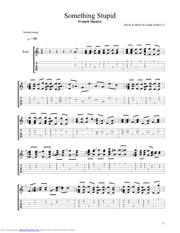 Something Stupid guitar pro tab by Frank Sinatra @ musicnoteslib.com