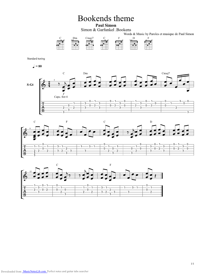 Bookends theme guitar pro tab by Paul Simon @ musicnoteslib.com