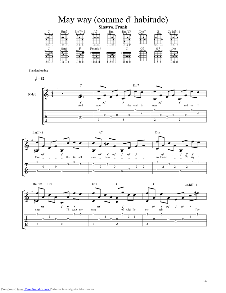 My Way Comme D Habitude guitar pro tab by Frank Sinatra ...
