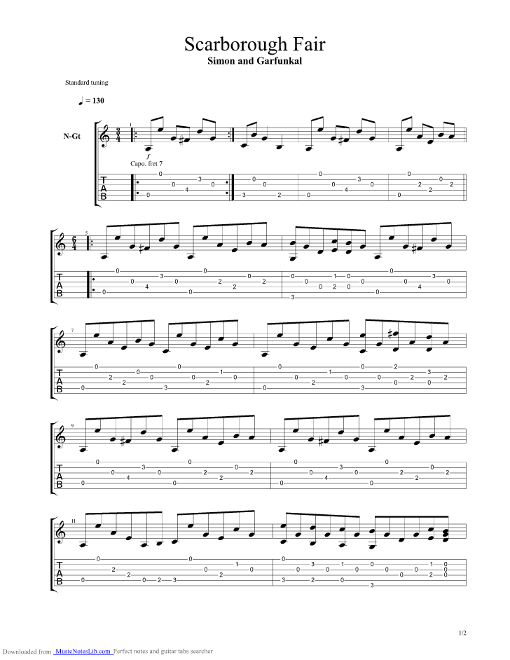 Scarborough Fair Guitar Pro Tab By Paul Simon Musicnoteslib