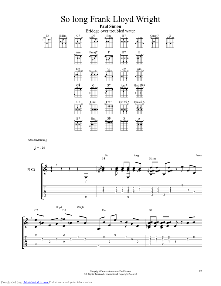 So long Frank Lloyd Wright guitar pro tab by Paul Simon ...