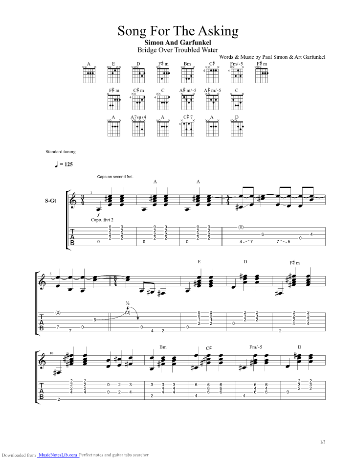 Song For The Asking Guitar Pro Tab By Simon And Garfunkel