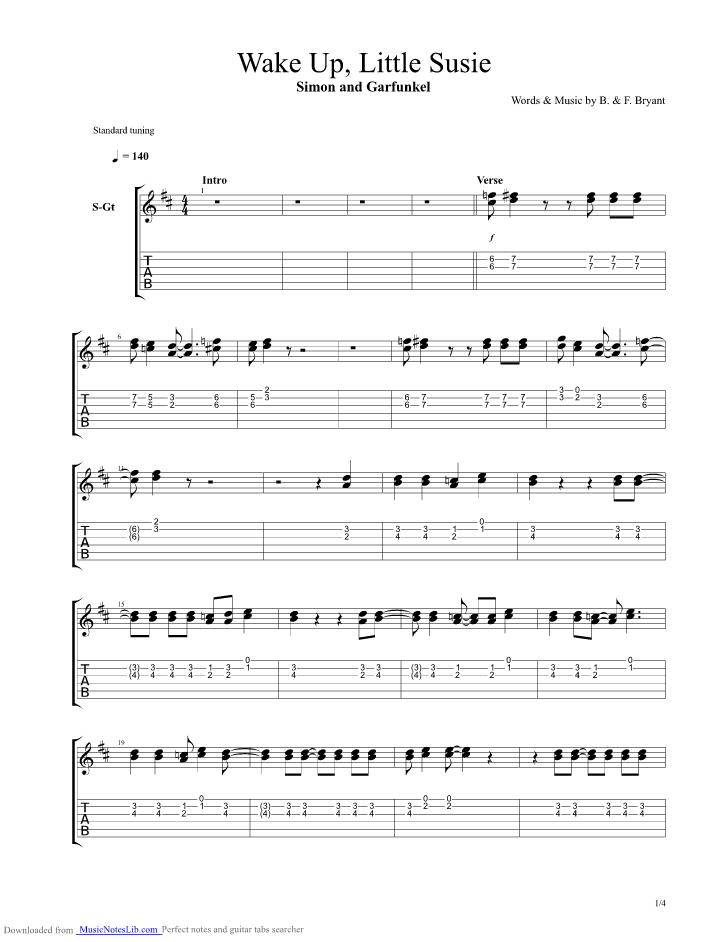 Wake Up Little Susie Guitar Pro Tab By Simon And Garfunkel