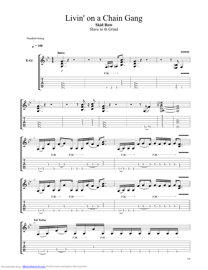 Livin On A Chain Gang Guitar Pro Tab By Skid Row Musicnoteslib