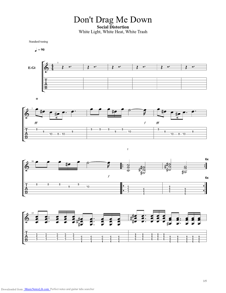 Dont Drag Me Down guitar pro tab by Social Distortion ...