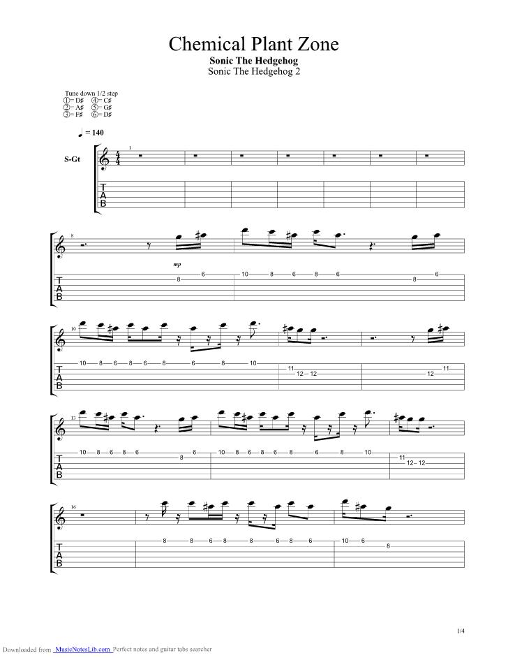 Sonic The Hedgehog 2 Chemical Plant Zone Guitar Pro Tab By Sonic The Hedgehog Sega Musicnoteslib Com