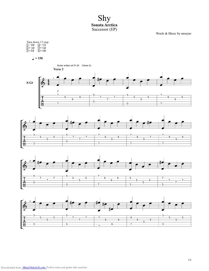 Shy guitar pro tab by ...1 2 3 Goldman Guitare