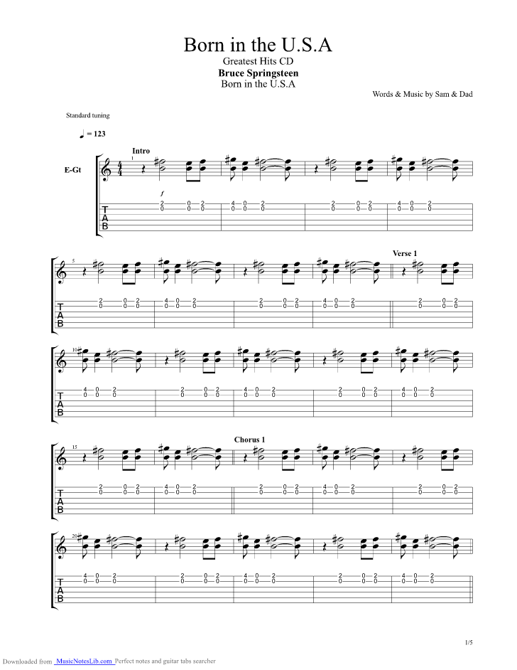 springsteen songbook chords
