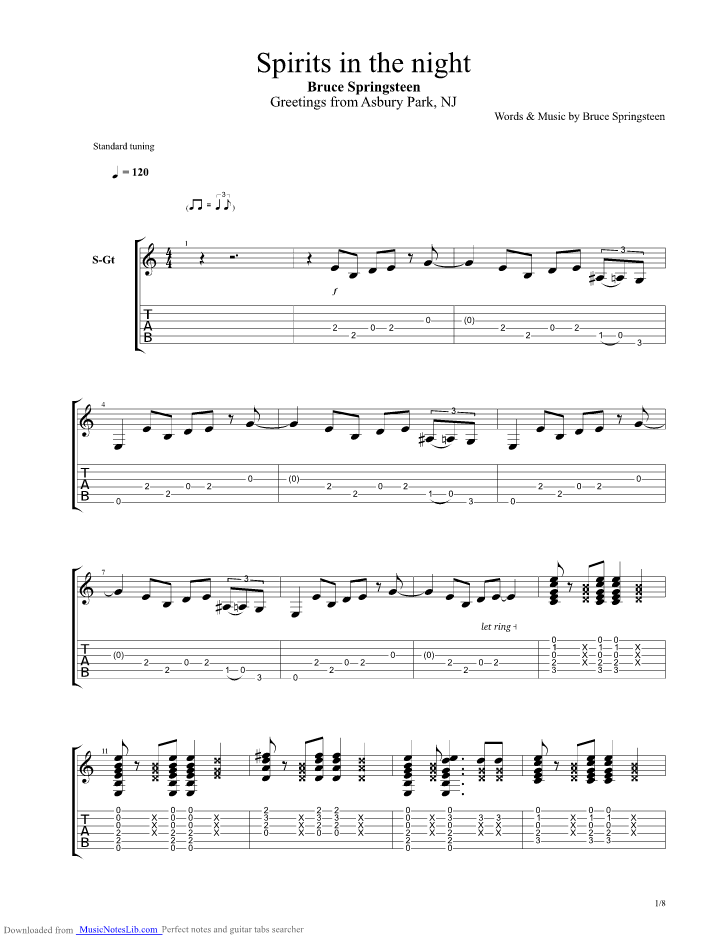 Spirit In The Night Guitar Pro Tab By Bruce Springsteen