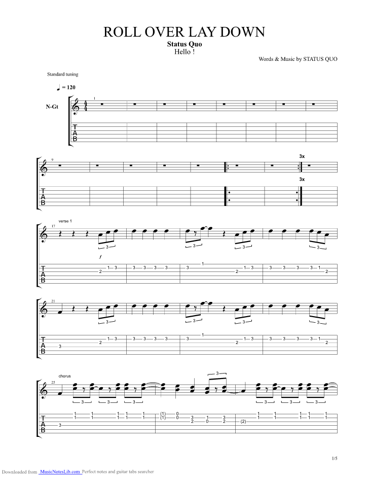 Roll Over Lay Down guitar pro tab by Status Quo @ musicnoteslib.com