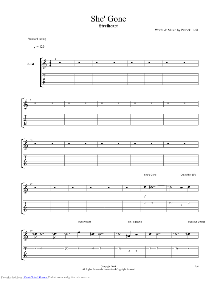 shes gone guitar pro tab by steelheart. Black Bedroom Furniture Sets. Home Design Ideas