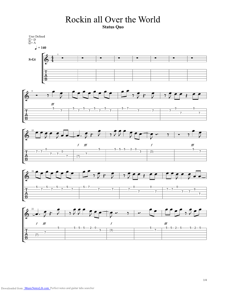 Rockin All Over The World Guitar Pro Tab By Status Quo