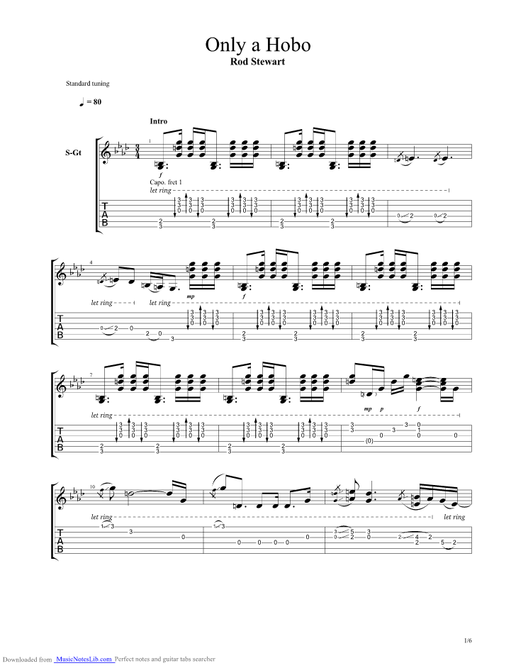 Only A Hobo Guitar Pro Tab By Rod Stewart Musicnoteslib
