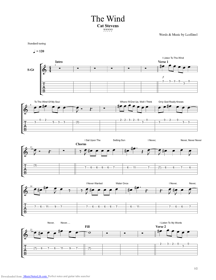 The Wind Guitar Pro Tab By Cat Stevens Musicnoteslib