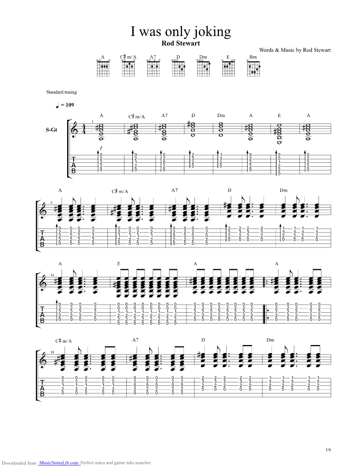 I Was Only Joking Guitar Pro Tab By Rod Stewart Musicnoteslib