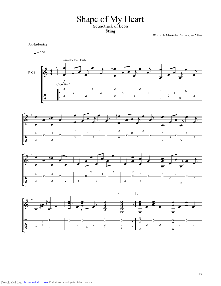 shape of my heart guitar pro tab by sting. Black Bedroom Furniture Sets. Home Design Ideas