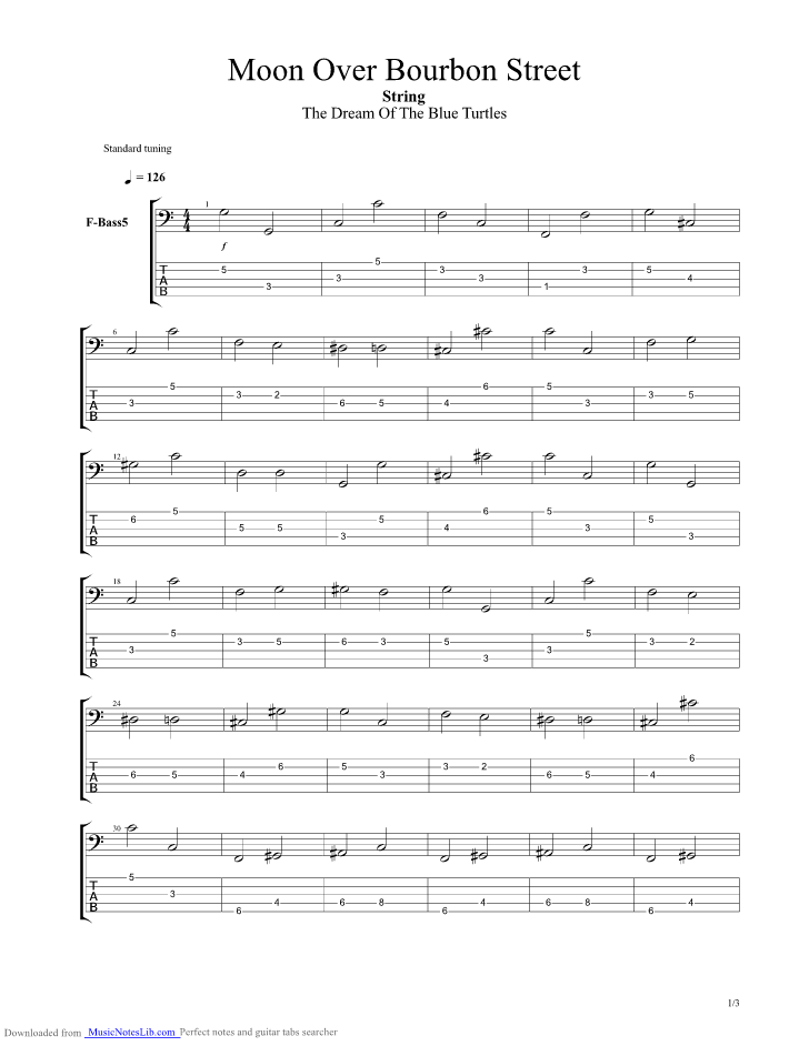 Moon Over Bourbon Street Guitar Pro Tab By Sting Musicnoteslib