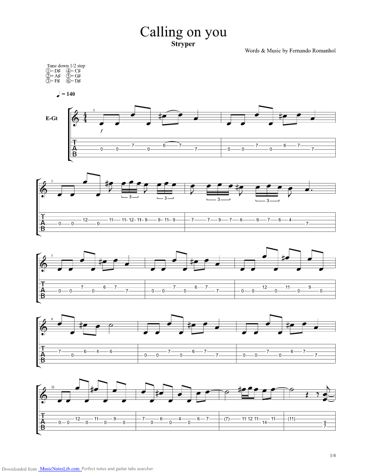 Calling On You guitar pro tab by Stryper @ musicnoteslib.com