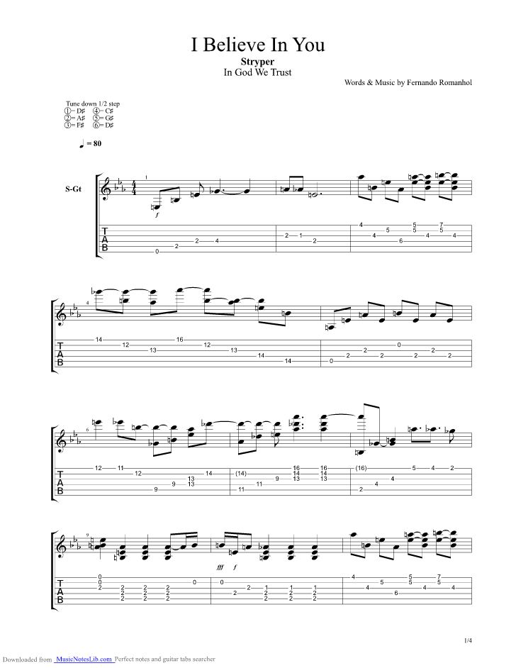 I Believe In You guitar pro tab by Stryper @ musicnoteslib.com