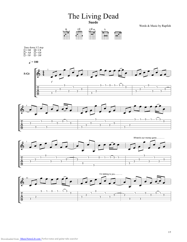 The Living Dead Guitar Pro Tab By Suede Musicnoteslib