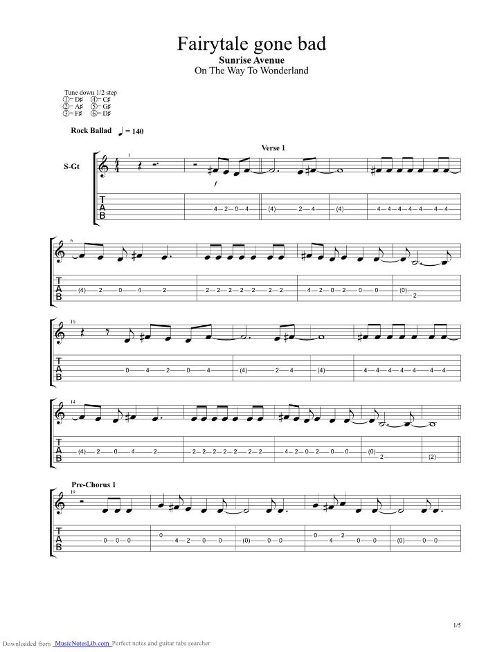 Fairytale Gone Bad Guitar Pro Tab By Sunrise Avenue Musicnoteslib