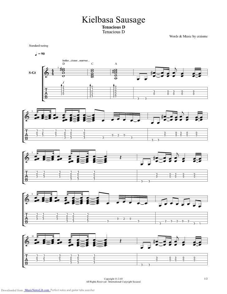 Kielbasa Sausage Guitar Pro Tab By Tenacious D Musicnoteslib