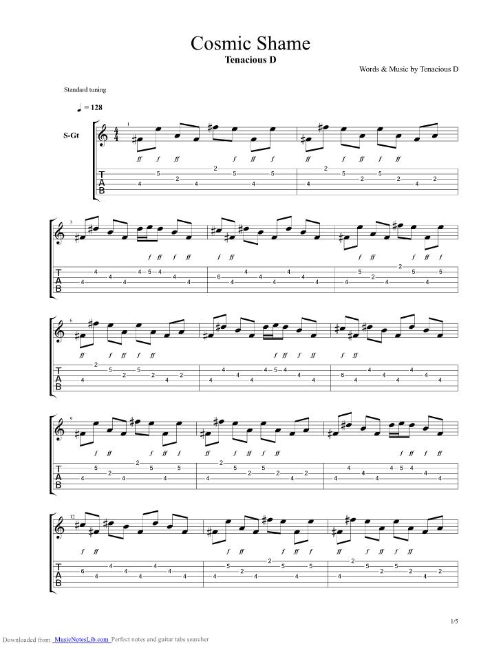 Cosmic Shame guitar pro tab by Tenacious D @ musicnoteslib.com