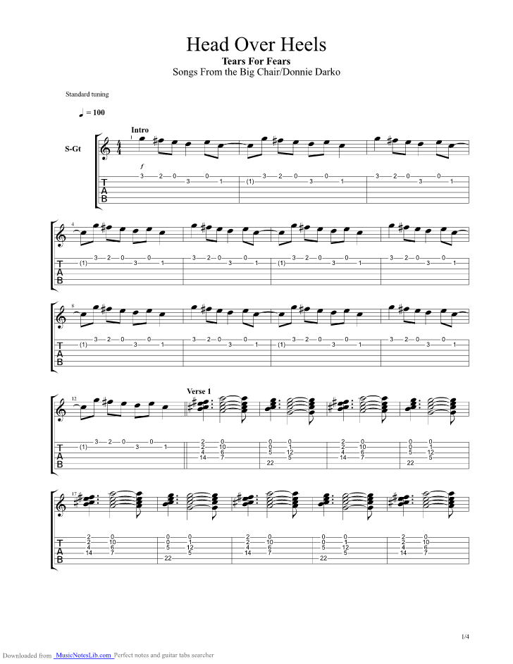 Head Over Heels Guitar Pro Tab By Tears For Fears Musicnoteslib