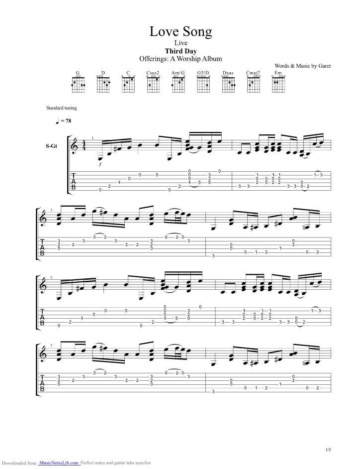 Love Song Guitar Pro Tab By Third Day Musicnoteslib