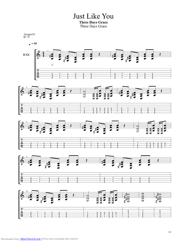 Just Like You guitar pro tab by Three Days Grace @ musicnoteslib.com