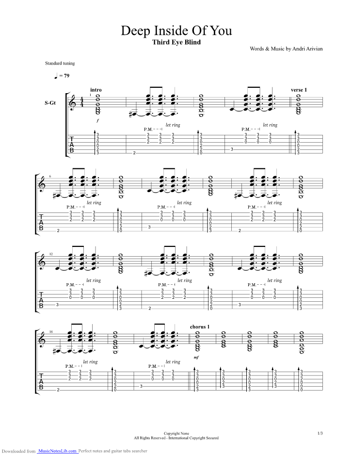 Deep Inside Of You Guitar Pro Tab By Third Eye Blind Musicnoteslib