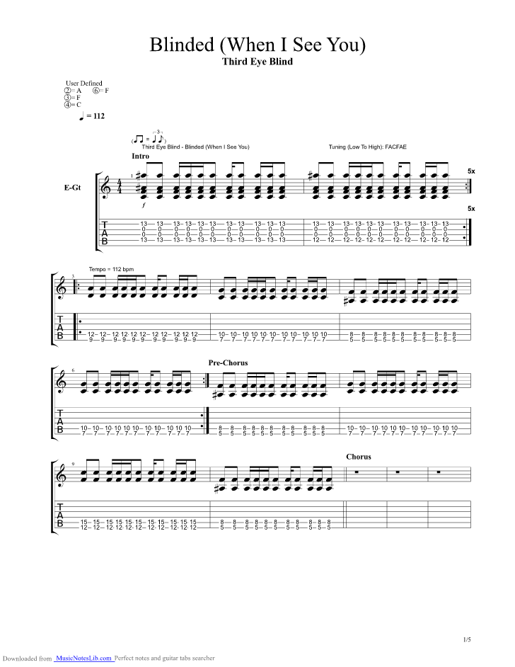 Blinded When I See You Guitar Pro Tab By Third Eye Blind