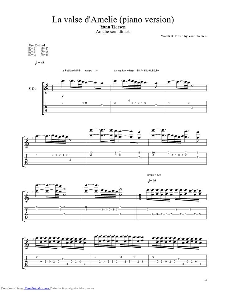 La Valse D Amelie Piano Version Guitar Pro Tab By Yann