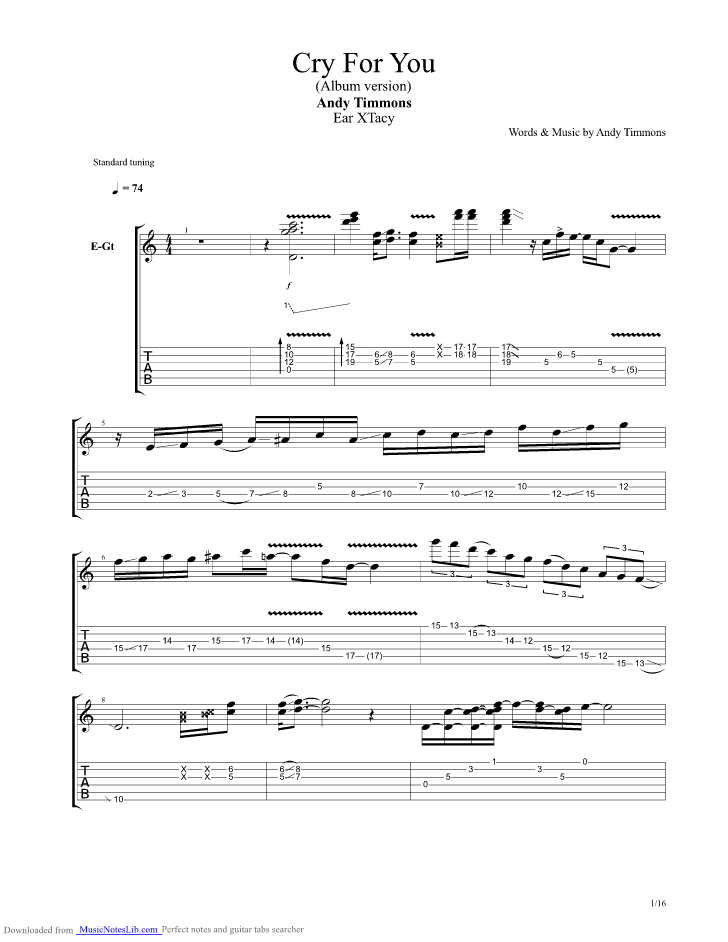Cry For You guitar pro tab by Andy Timmons @ musicnoteslib.com