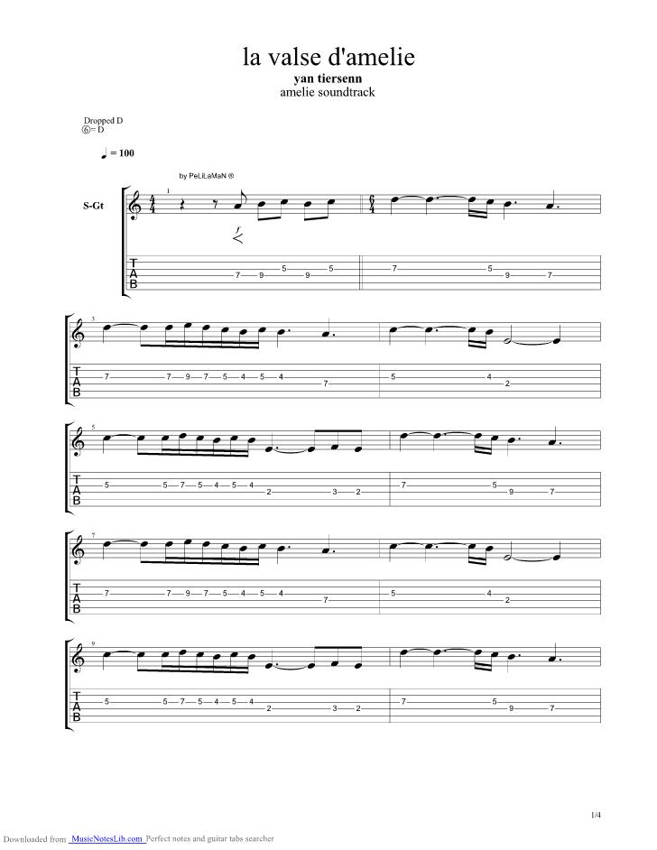 partition guitare yann tiersen