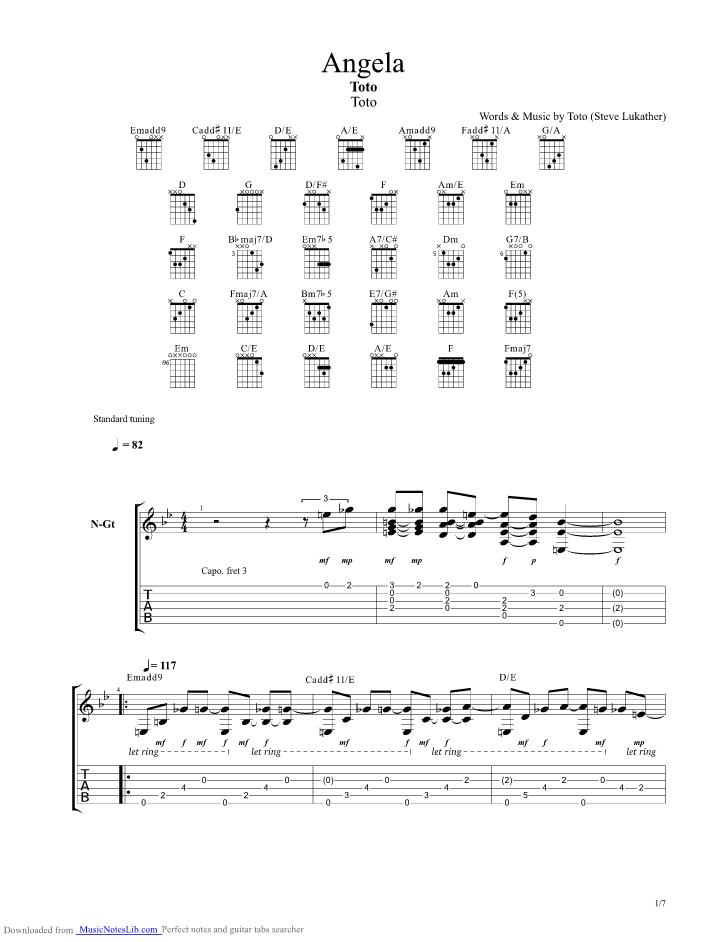 Angela guitar pro tab by Toto @ musicnoteslib.com