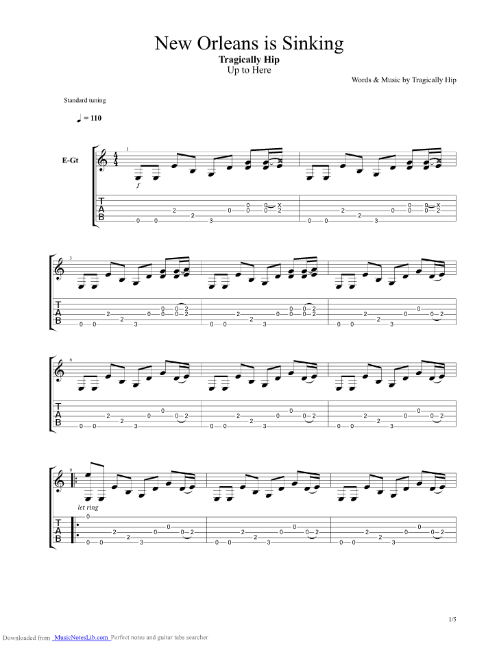 New Orleans Is Sinking Guitar Pro Tab By Tragically Hip