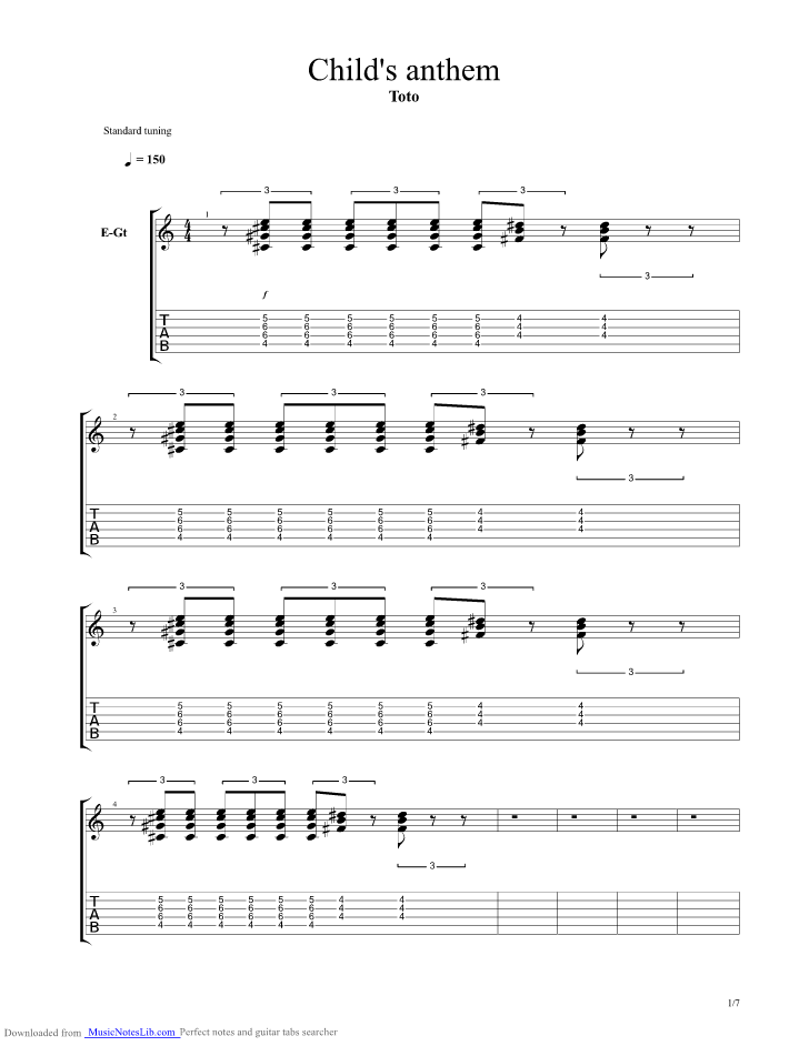 Childs Anthem guitar pro tab by Toto @ musicnoteslib.com