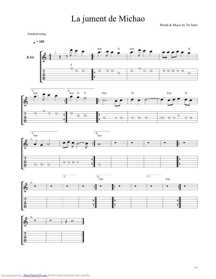 partition guitare gratuite la jument de michao