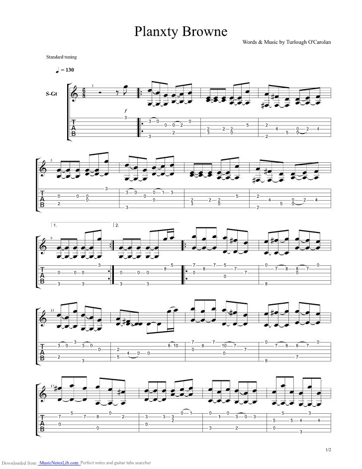 planxty browne guitar pro tab by turlough ocarolan @ musicnoteslib.com  musicnoteslib.com