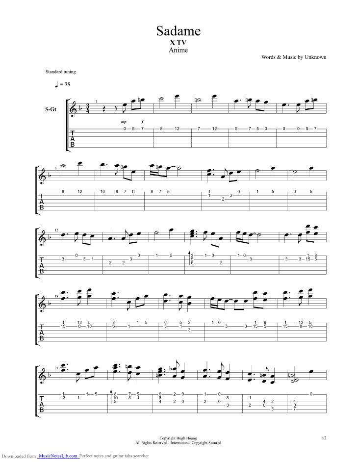 Sadame X TV Anime Soundtrack guitar pro tab by Unbekannt @ musicnoteslib.com